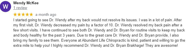 Chiropractic Kansas City KS Wendy Testimonial